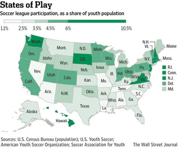 Youth Soccer Participation By US State SavvyRoo - Us youth soccer map